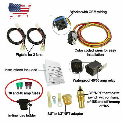 ELECTRIC FAN WIRE Harness Kit Complete Thermostat 50 Amp ... on