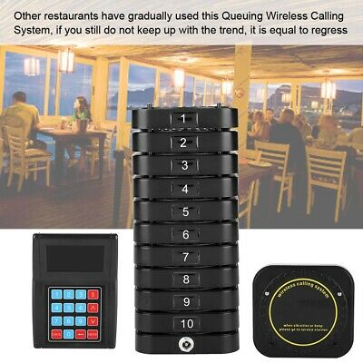 Wireless Guest Waiter Calling Paging Queuing System w/10*Coaster Pager Black New