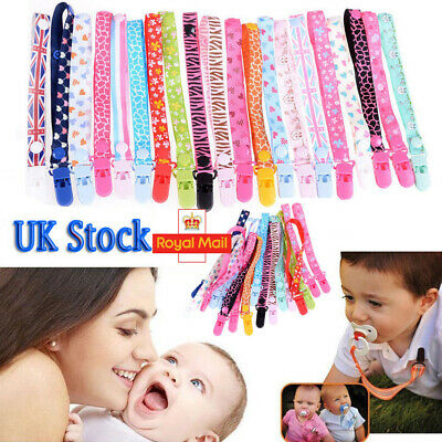 THEMED Dummy Clips Cartoon Holder Soother Pacifier Chain Boys Girls Baby Strap