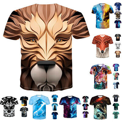 Mens Womens Animal 3D Print T Shirt Summer Casual Funny Short Sleeve Graphic Tee