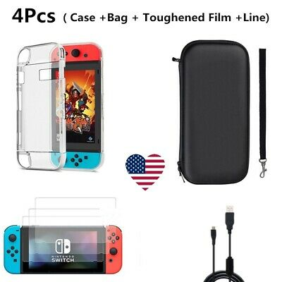 Accessories Case Bag+Shell Cover+Charging Cable+Protector for Nintendo Switch US