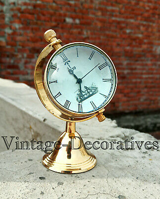 Solid Brass Clock With Marine Compass Retro Styel Table Watch Clock Collectible