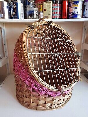 Large Wicker Travel Vet Pet Carrier Bed Portable Box Crate Dog Cat Kitten Puppy