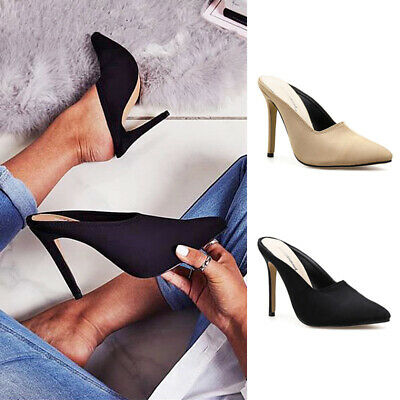 Sexy Ladies Women High Heels Slip On Party Shoes Pointed Toe Casual Office Mules