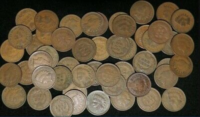 LOT OF 10 Different Mixed Indian Head Cent Pennies in Avg Circ. 1800's/ 1900's