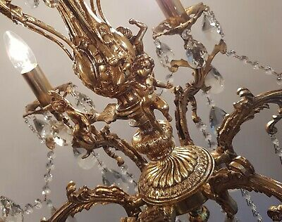 Antique Vintage 6 Arms Brass & Crystals CHERUB Chandelier FREE EXPRESS DELIVERY