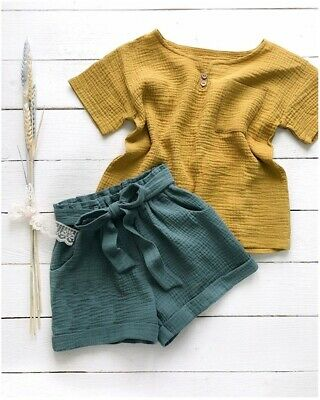 AU Newborn Baby Girls T-Shirt Top Bow Short Pants Cotton Linen Outfits Clothes