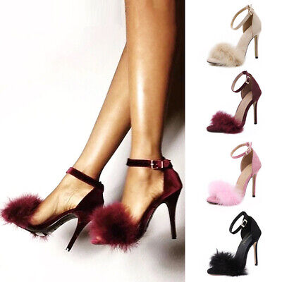 Sexy Womens Ankle Strap High Heels Sandals Ladies Faux Fur Open Toe Shoes Size