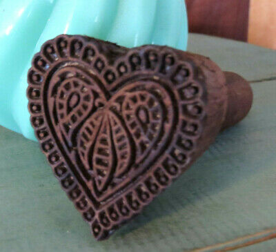 Primitive Carved wood Farmhouse HEART w Paisleys & Lace Butter Mold Stamp Press