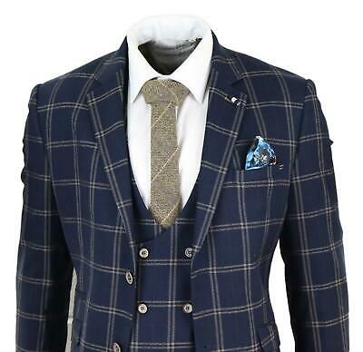 Mens Navy Blue 3 Piece Suit Double Breasted Waistcoat Tan Prince Of Wales Check