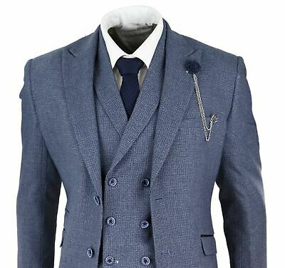 Mens Navy Blue 3 Piece Suit Double Breasted Waistcoat Dogtooth Tweed Vintage
