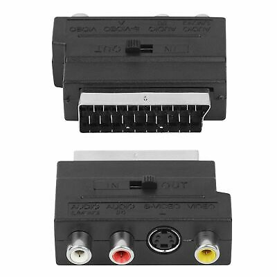 Scart Adaptor AV Block To 3 RCA Phono Composite S-Video With In/Out Switch Black