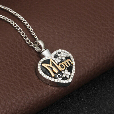 Mom Love Heart Memorial Urn Necklace For Ashes Cremation Pendant Keepsake Smart
