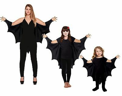 HALLOWEEN GOTHIC VAMPIRE BAT WINGS Costume Cape Fancy Dress Adult Kids Outfit UK