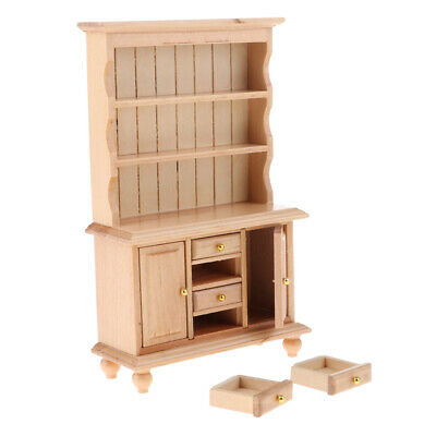 1/12 Dollhouse Miniature Wood Bookcase Bookshelf Furniture Toy Wood Color