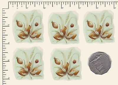"5  x Waterslide ceramic decals Autumn Nuts berries Seeds 1 1/2"" x 1 3/4"" PD947"