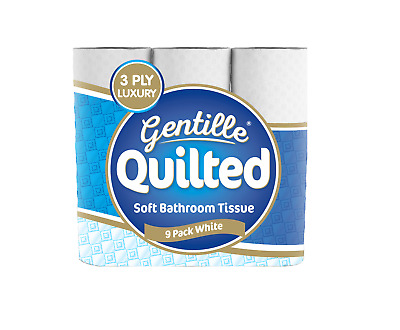 Gentille Quilted 3 Ply White Soft Toilet Roll Toilet Tissues
