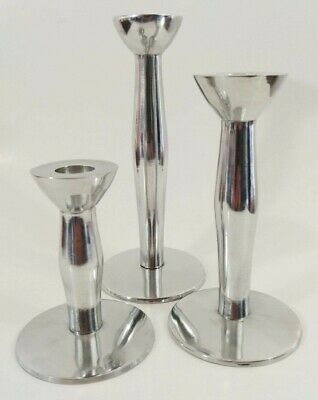Metalworks International Silver Co. Aluminum Taper Candle Holders India Set of 3