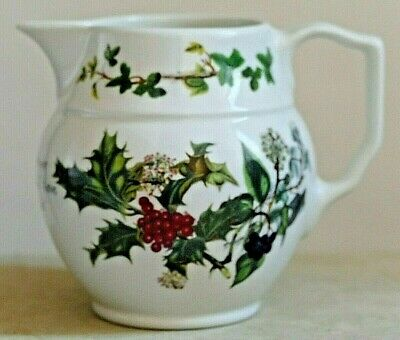 "Portmeirion THE HOLLY & THE IVY ~ One Pint Cream Jug 3.75"" Tall ~ English Made."