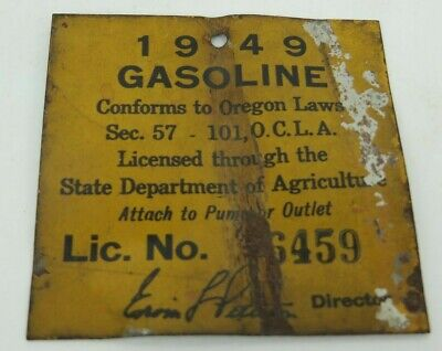 OREGONA 1949 GASOLINE LICENSE tag sign metal painted State Agriculture