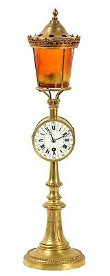 Rare Late 19th C. Gilt Brass And Glass Novelty Clock Modelled As A Lantern.