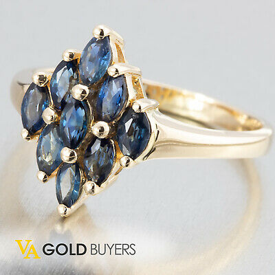 1980's Fine Vintage Estate Retro 14k Yellow Gold Sapphire Ring - Size 8.25