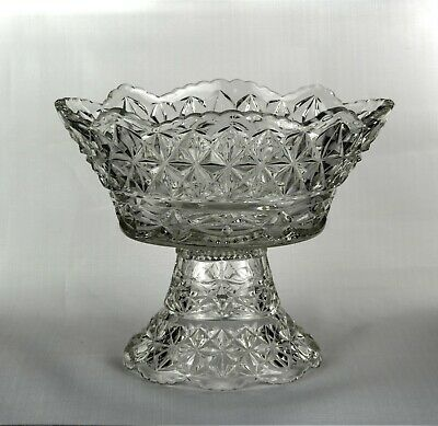 Vintage Clear Pressed Glass Two Piece Pedestal Punch Bowl Large & Heavy