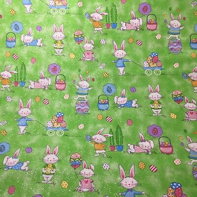 Bunnies Green by Timeless Treasures #C5830 Tossed Pigs Fabric Premium Cotton
