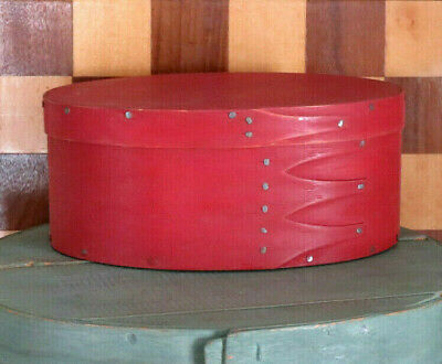 Primitive Oval shaped Barn RED shaker 4 finger Bent wood wooden Pantry Box NICE