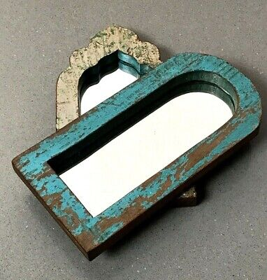 Antique Vintage Indian, Small Pair Arched Temple Mirrors. Turquoise & Lilac.