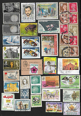 (111cents) World Wide Collection of used Stamps on Piece x 70