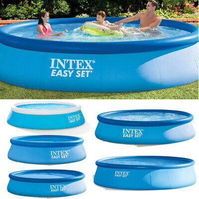 INTEX Schwimmbecken Easy Set Family Swimming Pool Rund Frame Planschbecken Blau
