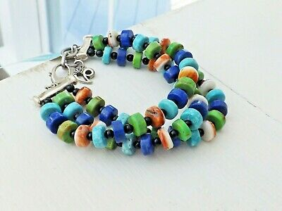 "Carolyn Pollack CorAzon Sterling Silver Turquoise Lapis Bead 8"" - 9"" Bracelet"