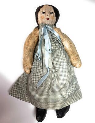 "Adorable Primitive Folk Art Handmade Oil Painted Face Cloth Rag Doll 15"" Jointed"