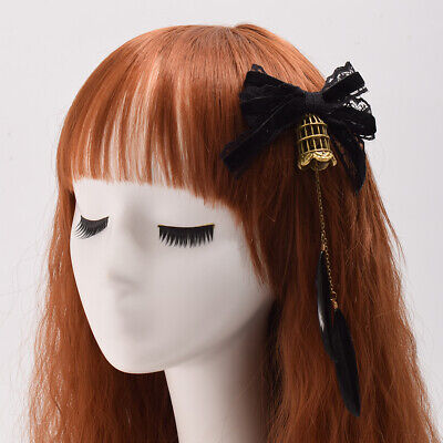 Lolita Girls Fille Lace Hairpin Birdcage Gothic Black Costume Hair Accessory