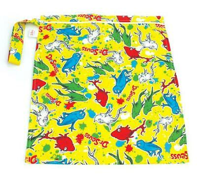 Bumkins Zippered Wet Bag: Dr. Seuss One Fish - Waterproof Tote for Cloth Diapers