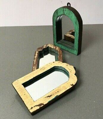 Antique Vintage Indian, 3 Small Arched Temple Mirrors. Cappuccino, Jade.