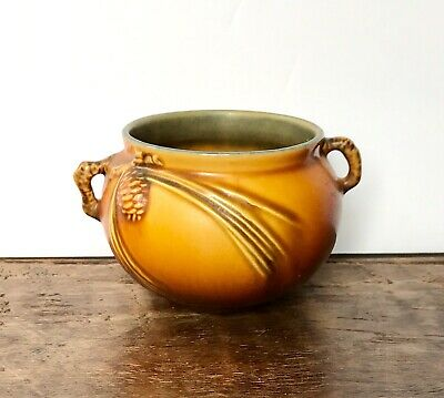 """Roseville Pottery Pine Cone, 632-3"""", Double Handled Jardiniere, Brown, Art Deco"""