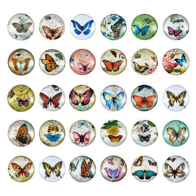 50PCS Flatback Half Round/Dome Butterfly Glass Cabochons Jewelry Making 25x7mm