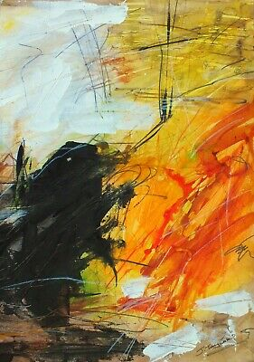 Dramatic Original Abstract Painting Fiery Orange Black Art