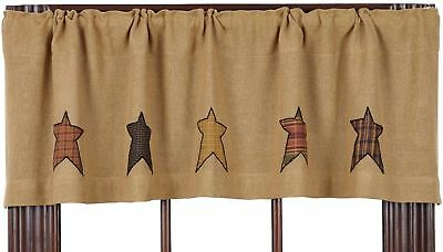 """Rustic Burlap Window Valance Country Plaid Star Patches 60"""" Wide Stratton"""