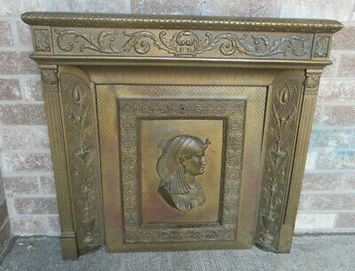 Antique Cast Iron Victorian Fireplace Surround and Cover