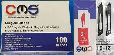 CMS #21 Surgical Podiatry Medical Blades Scalpels Stainless Steel 100/BX Sterile