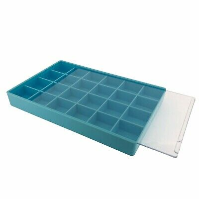 Storage Box 24 Compartment Organizer Tray Compact Small Items See Thru Slide Lid