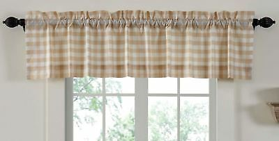 "72"" W Lined Window Valance Country Farmhouse Wheat-Color Annie Buffalo Check"