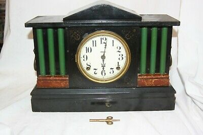 6 Column Mantle Clock Lion Head Handles Running and Chiming