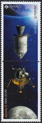 APOLLO 11 MOON LANDING 50th = Tête-Bêche Pair from Minisheet Canada 2019 MNH VF
