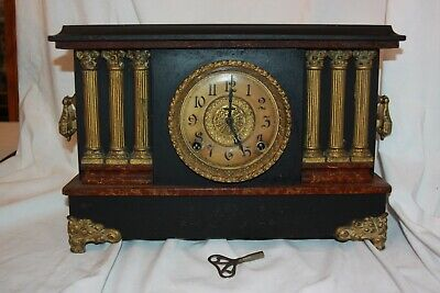 Ingraham Antique 6 column Mantle Clock Chiming