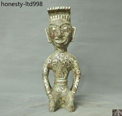 Unique Old China Ancient Bronze Ware Silver Ancient Double People Palace Statue