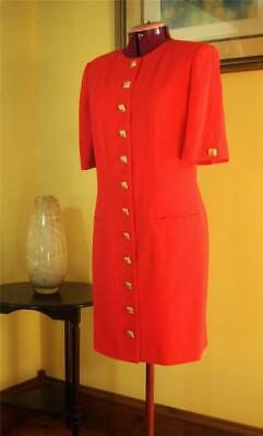 Chic Louis Féraud 1980s/90's Sheath Dress in Stunning Red Wool Crepe ~US Size 8